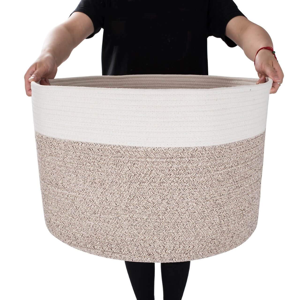 "MINTWOOD Design XXXL Extra Large 22"" X 22"" X 14"" Decorative Woven Cotton Rope Basket, Laundry Basket, Blanket Basket, Baby & Dog Toy Storage Baskets & Bin, Kid Laundry Hamper - Natural/Heathered Cream"