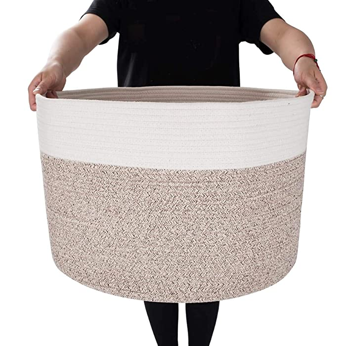 "MINTWOOD Design XXXL Extra Large 22"" X 22"" X 14"" Decorative Woven Cotton Rope Basket, Laundry Basket, Blanket Basket, Baby & Dog Toy Storage Baskets & Bin, Kid Laundry Hamper - Natural/Heathered Cream"