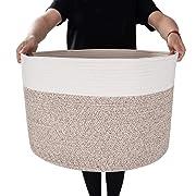 MINTWOOD Design XXXL Extra Large 22  X 22  X 14  Decorative Woven Cotton Rope Basket, Laundry Basket, Blanket Basket, Baby & Dog Toy Storage Baskets & Bin, Kid Laundry Hamper - Natural/Heathered Cream