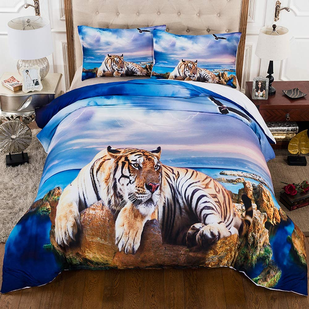 """STIANQI 3D Animals Printed Duvet Cover Sets Tiger On The Beach Beautiful and Cool Bedding Set Suitable for Men Teen-Boys Children(3Pcs Twin 67""""X84"""")"""