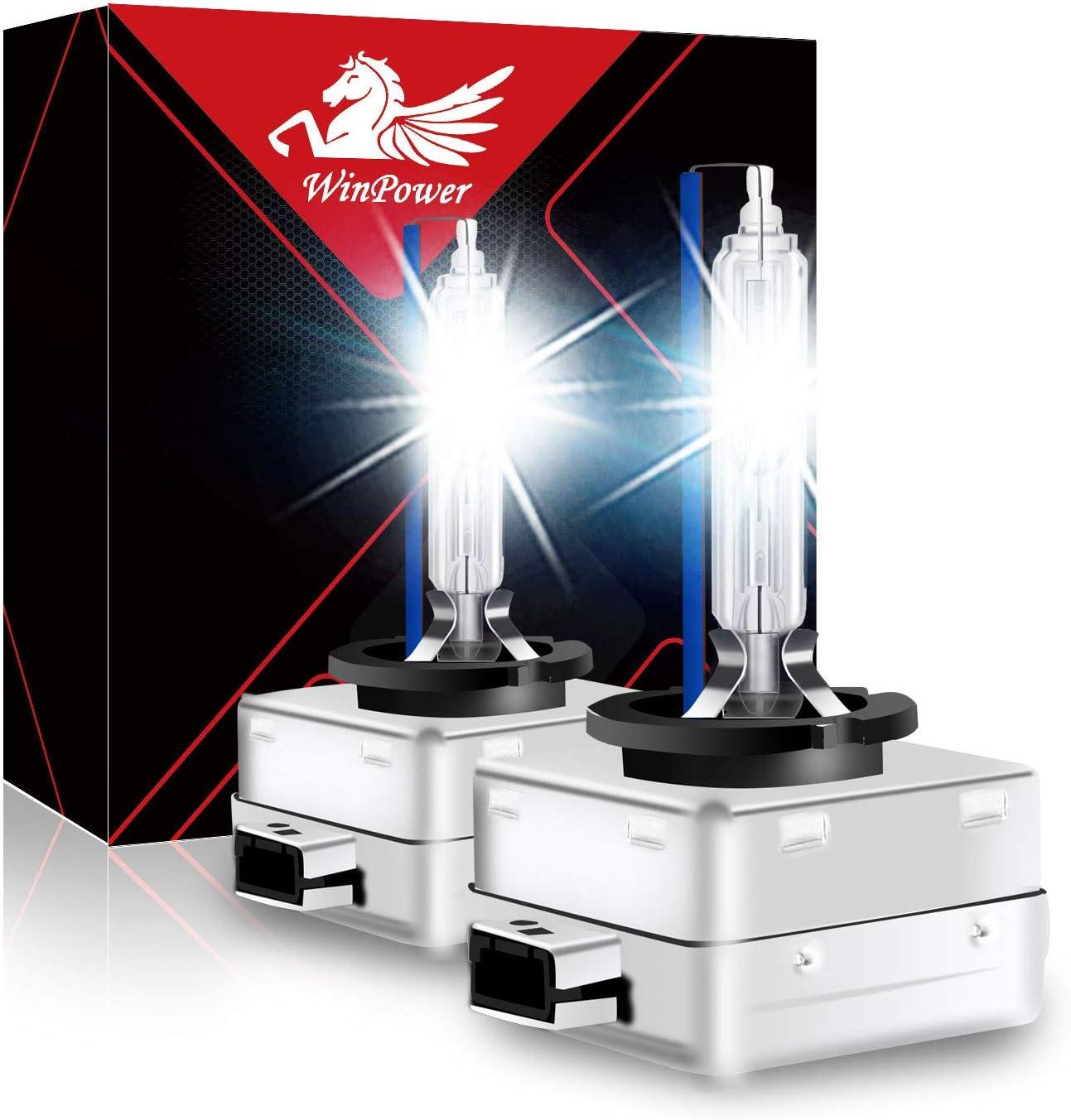 WinPower D1S 35W Bulbo del faro de xenón Lampara de descarga Reemplazar kit para bombillas HID de coche 8000K Blanco frio (2 Lamparas)