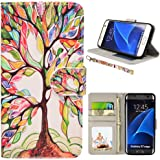 S7 Case, UrSpeedtekLive Galaxy S7 Wallet Case, Premium PU Leather Wristlet Flip Case Cover with Card Slots & Stand for Samsung Galaxy S7, Love Tree Pattern