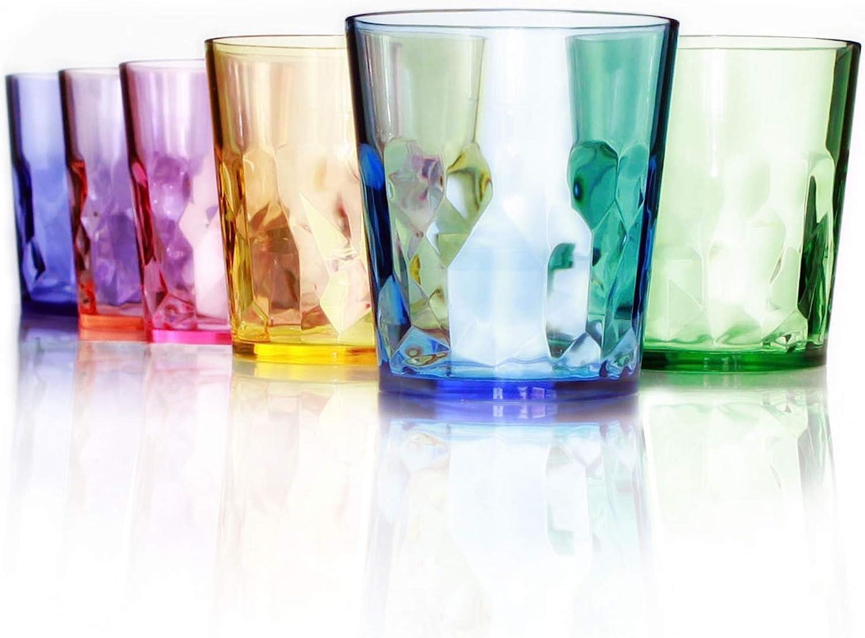 Vasos de Plástico de Colores Para Beber de 400 ml con Calidad Superior - Juego de 6 - Plástico Tritán Irrompible - Libres de BPA - 100% Fabricados en Japón (Colores Surtidos)