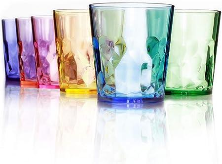ESPECIFICACIONES - Juego de 6 vasos de colores de plástico Tritán irrompible (libres de BPA) 100% fa