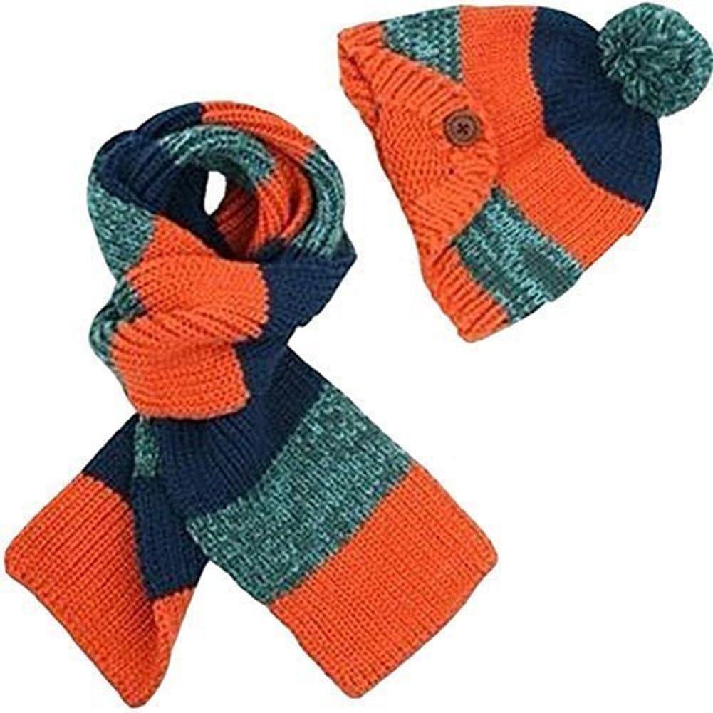 TININNA Invierno Kids 2en 1rayas de punto de ganchillo Beanie Hat Gorro de invierno y bufanda Set para niños