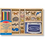 Melissa & Doug Wooden Stamp Set: Animals - 16 Stamps, 4 Coloured Pencils, Stamp Pad
