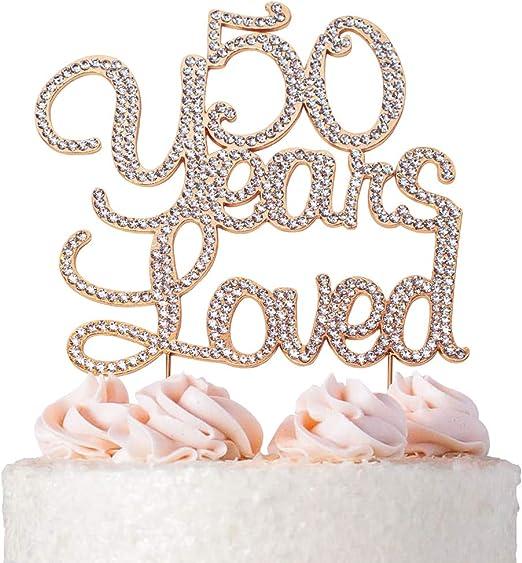 Peachy Amazon Com Premium Metal 50 Years Loved Rose Gold Rhinestone Gem Funny Birthday Cards Online Drosicarndamsfinfo
