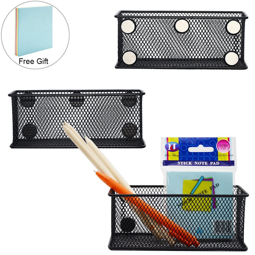 Magnetic Storage Baskets, WEST BAY 3Packs Black Wire Mesh Storage Baskets with Heavy-Duty Magnets for Office Supply Organizer, Desk Tray, Refrigerator, Microwave or Other Magnetic Surface