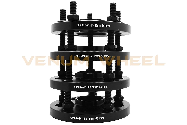 4pc 15mm Subaru Conversion Adapter Kit 5x100 to 5x114.3 56.1mm Hub Centric 20 Black Bulge Acorn Lug Nuts M12x1.25 Thread Pitch