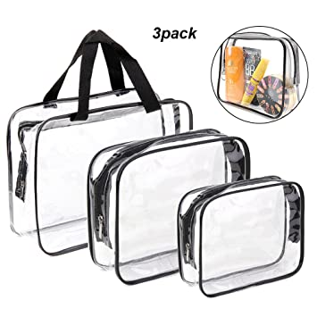 cd8a047fdc74 Amazon.com   3 Pack Clear Travel Toiletry Bag TSA Approved Make-up  BagsOrganizers with Zipper Travel Luggage Pouch Waterproof Carry on Airport  Airline ...
