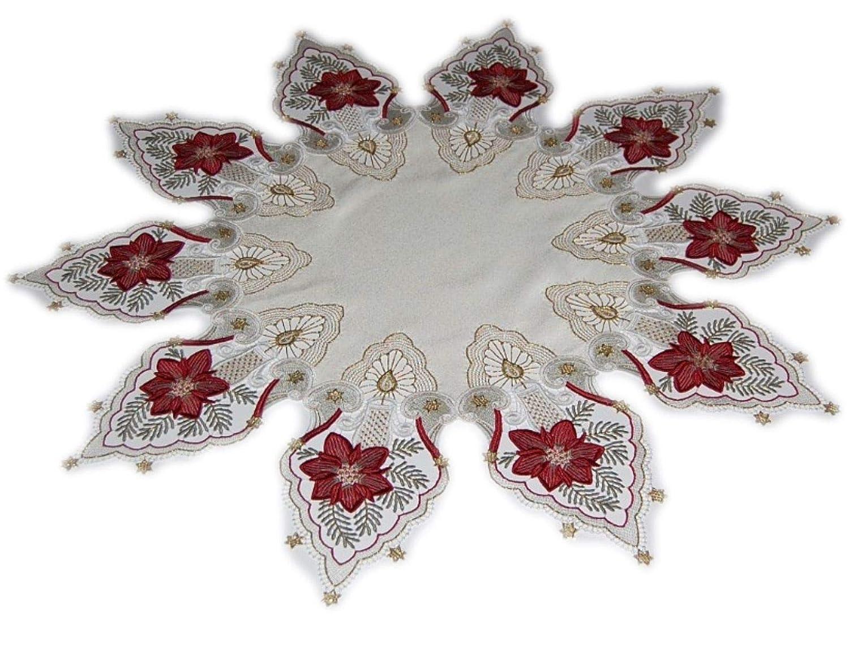 Tischdecke Weihnachten Plauener Spitze Stickerei Kerze Bordeaux Spitzendecke Advent (85 cm rund)