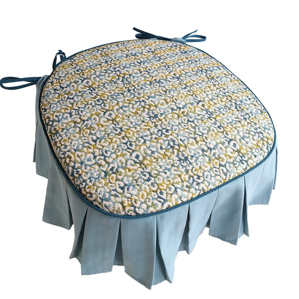 Covers Stool Seat Cushion Elegant Jacquard Anti-Slip Anti-Dust Makeup Stool for Home Banquet Hotel Party Decor Couch (Color : Blue, Size : 45X45cm) by Covers