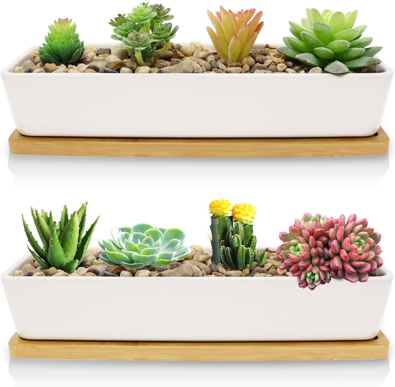Farielyn-X 2 Pack White Succulent Planter Pots, 11.1 inch Long Rectangle Ceramic Plant Container with Bamboo Saucers, Mini Flower Cactus Pot Indoor Outdoor Home Garden Kitchen Decor, Plant not Include