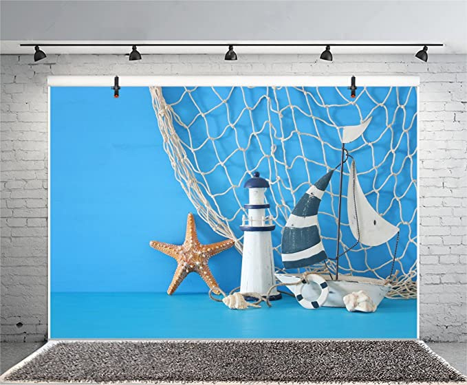 7x7FT Vinyl Photography Backdrop,Lighthouse,Les Eclaireurs on Coast Background Newborn Birthday Party Banner Photo Shoot Booth