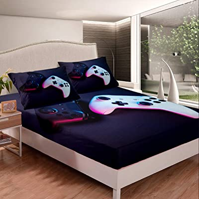 Gamepad Fitted Sheet Full Size Video Game Bedding Set Black Cartoon Gamer Pattern Sheet Set,Electronic Theme Bed Cover Ultra Soft Breathable Bedspread 3 Pcs for Kids Teens Boys, Novely: Home & Kitchen