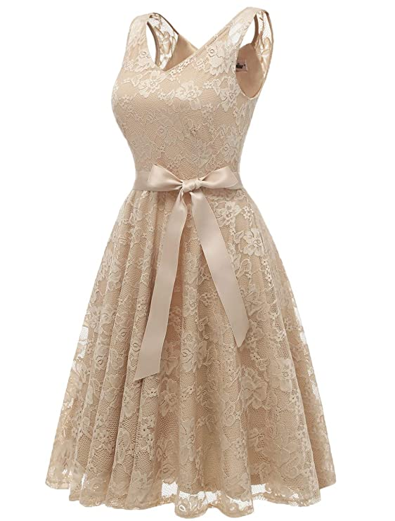 AONOUR AR8008 Womens Floral Lace Cocktail Party Dress Short Prom Dress V Neck Champagne-L: Amazon.co.uk: Clothing