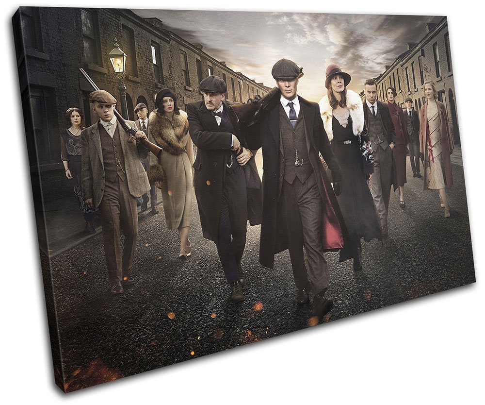Bold Bloc Design - Peaky Blinders Television Show TV 45x30cm SINGLE Canvas Art Print Box Framed Picture Wall Hanging - Hand Made In The UK - Framed And Ready To Hang 13-2481(00B)-SG32-LO-A Bold Bloc Design Ltd.