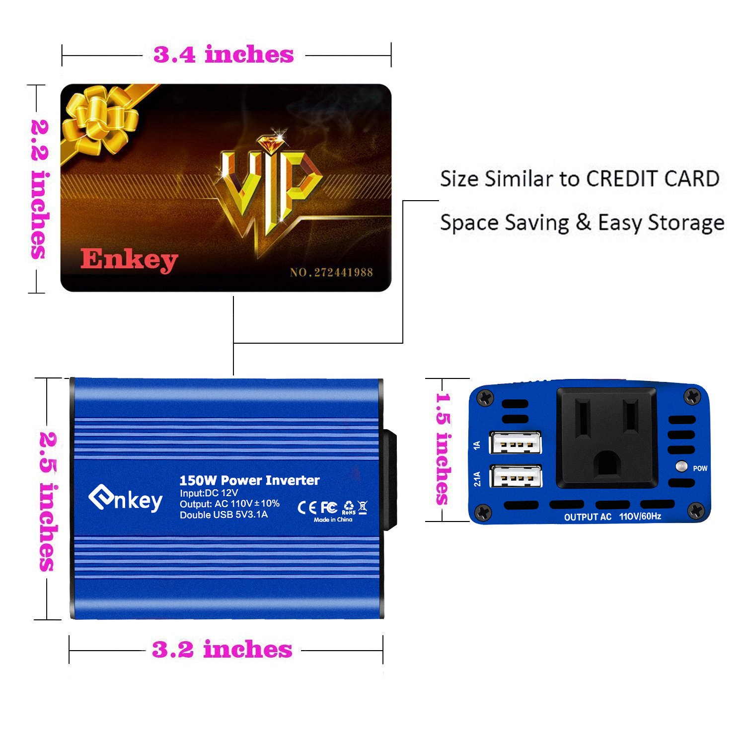 Enkey 150W Car Power Inverter DC 12V to 110V AC Converter with 3.1A Dual USB Charger - Blue by Enkey (Image #4)