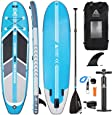 """Leader Accessories 10'6"""" Inflatable Stand Up Paddleboard with Fins (6"""" Thick) Includes Adjustable Paddle,Kayak Leash,ISUP Backpack, Non-Slip Deck, Hand Pump with Gauge"""