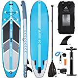 "Leader Accessories 10'6"" and 11'2"" Inflatable Stand Up Board with Fins (6"" Thick) Includes Adjustable Paddle,Kayak Leash…"