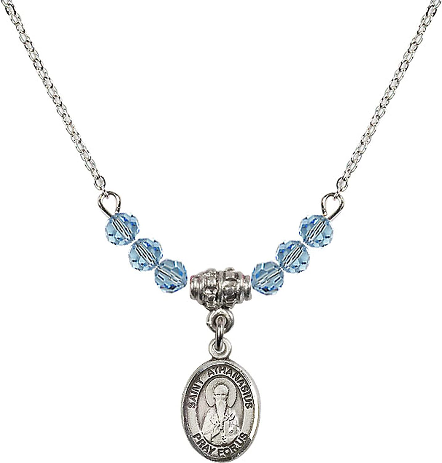 Bonyak Jewelry 18 Inch Rhodium Plated Necklace w// 4mm Blue March Birth Month Stone Beads and Saint Athanasius Charm