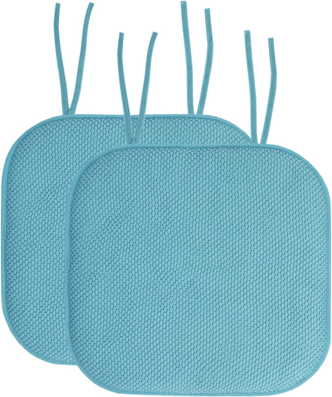 """Sweet Home Collection Chair Cushion Memory Foam Pads with Ties Honeycomb Pattern Slip Non Skid Rubber Back Rounded Square 16"""" x 16"""" Seat Cover, 2 Pack, Teal"""