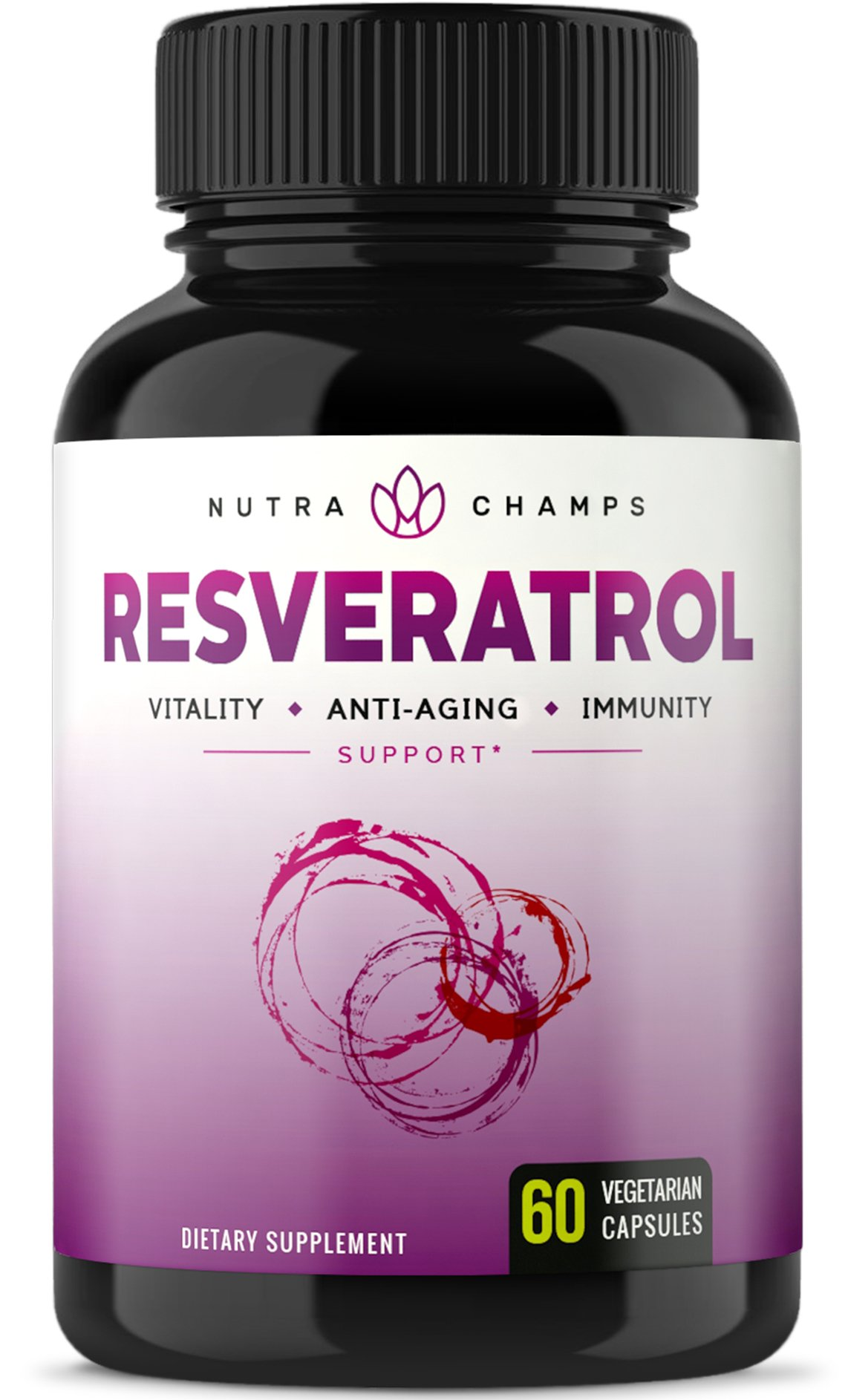 Resveratrol Supplement 1200mg - Extra Strength Formula for Maximum Anti Aging, Immune & Heart Health - 60 Vegan Capsules with Trans-Resveratrol, Green Tea Leaf, Acai Berry & Grape Seed Extract by NutraChamps
