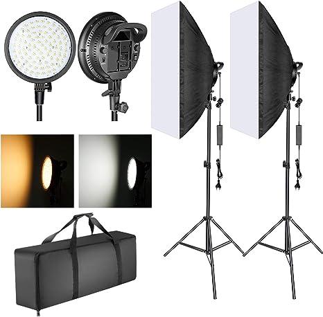Neewer Softbox Kit Iluminación LED 51,1x71cm, 48W Temperatura Regulable 2 Colores Cabeza de Luz LED con Compartimiento Batería y Soporte Luz para Fotografía (Batería No Incluida): Amazon.es: Electrónica