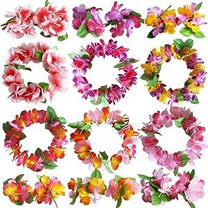 ZCMG Hawaiian Headband Wristbands Hawaii Tropical Luau Headpiece Bracelets Hair Bands Flower Leaf Wreath Women Floral Leaves Beach Vacation Wedding Birthday Party Favors Supplies Decorations 18 PCS