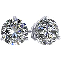 14K Gold Post & Sterling Silver-Swarovski-Zirconia 3 prong-Martini Style Stud Earrings 1.0ct to 4ct