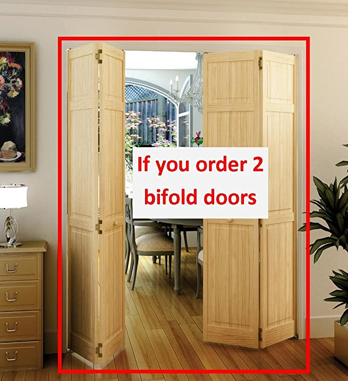 Bi-fold Door, Six-panel Style Solid Wood (80x36) - Closet Storage ...