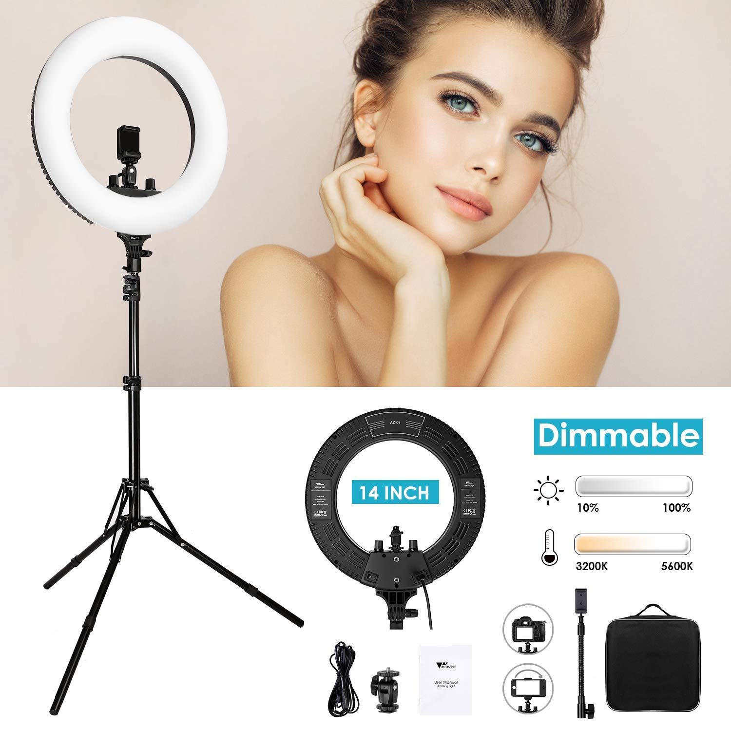 【Upgraded】 Amzdeal Ring Light 14 Inch with Tripod Stand-Continuous Output Lighting Kit Dimmable Selfie Led with Tripod Phone Holder Carrying Bag for Photography/Live Stream/Makeup/YouTube Video by amzdeal