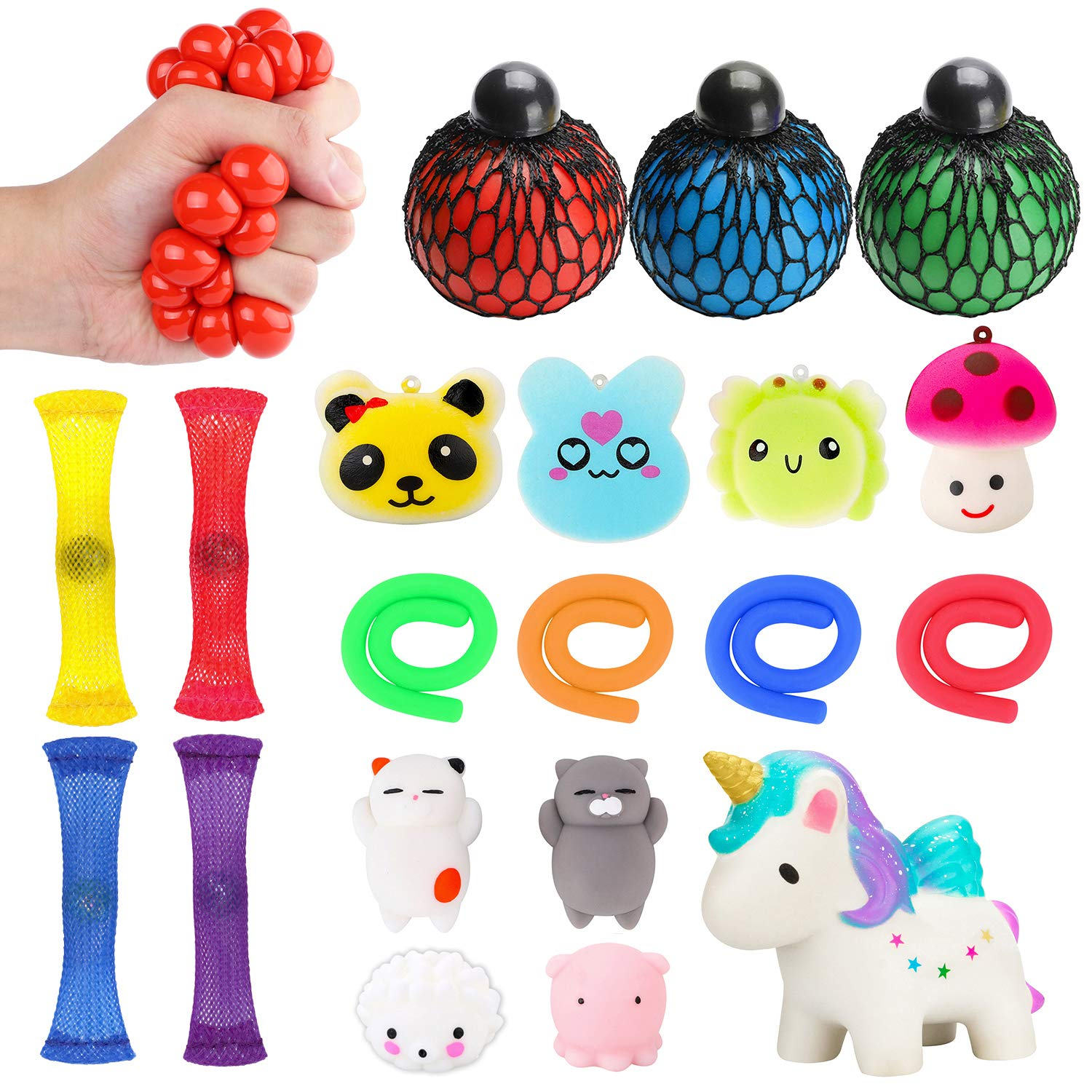 WATINC 20 Pack Sensory Fidget Toys Set, Kawaii Squishy, Mochi Squishies, Squeeze Ball, Mesh and Marble Toy, Stretchy String, Colorful Sensory Fidget Stretch Toy for ADHD Autism Stress Anxiety Relief by WATINC
