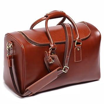 Sac fourre-tout rectangulaire - unisexe - véritable cuir italien - marron - voyage/taille cabine OYk1ds