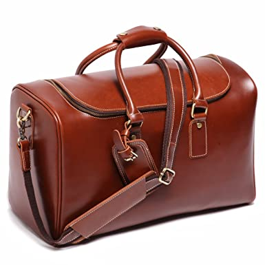 Amazon.com | Leathario Mens Leather Weekend Travel Duffel Bags ...