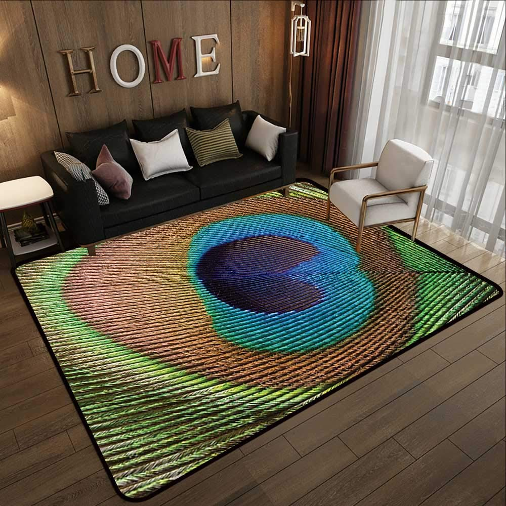 Pattern10 63\ Kids Rugs,Peacock Plume Decorations Collection,Macro Size Peafowl Feather Pattern,Green bluee Brown Olive 63 x 94  Slip-Resistant Washable Entrance Doormat