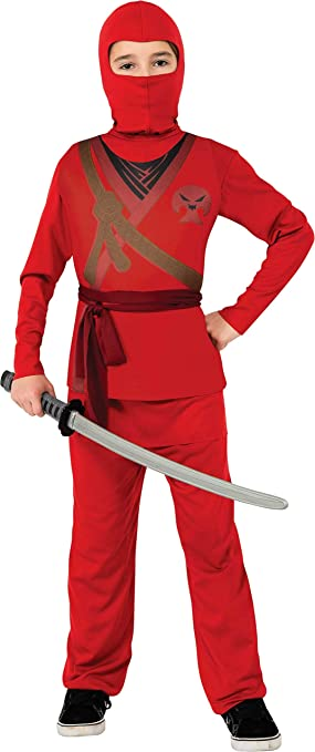 Rubies - Disfraz de ninja rojo con calavera para niño, infantil S ...