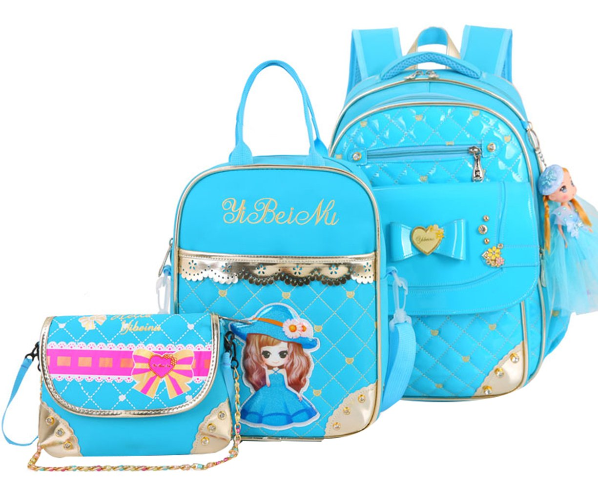 StyleB bluee3Sets 25L SellerFun Primary Girls Students Polyester School Backpack and Lunch Bag 2 Sets 3 Sets(25L,StyleA Black2Sets)