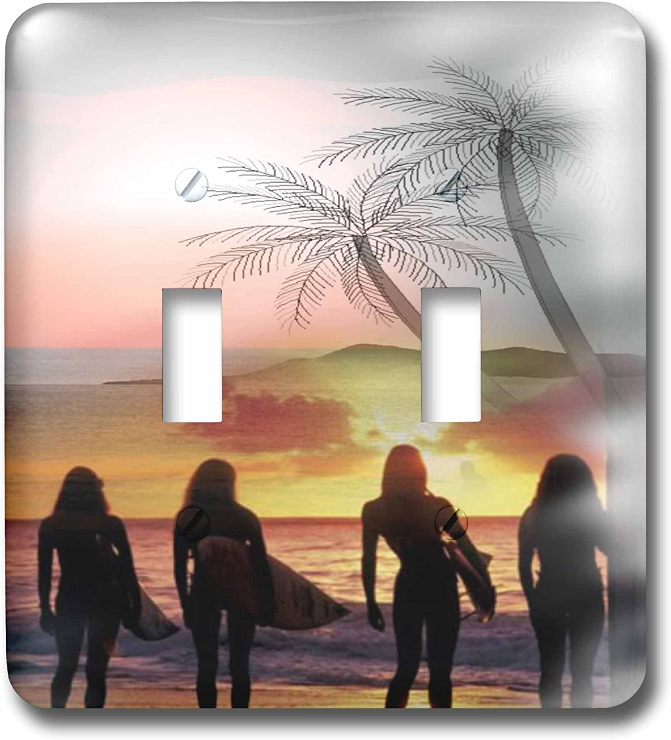 3drose Lsp 61471 2 Surfer Girls Beautiful Sunset And Last Wave A Way To End The Day Double Toggle Switch Switch Plates Amazon Com