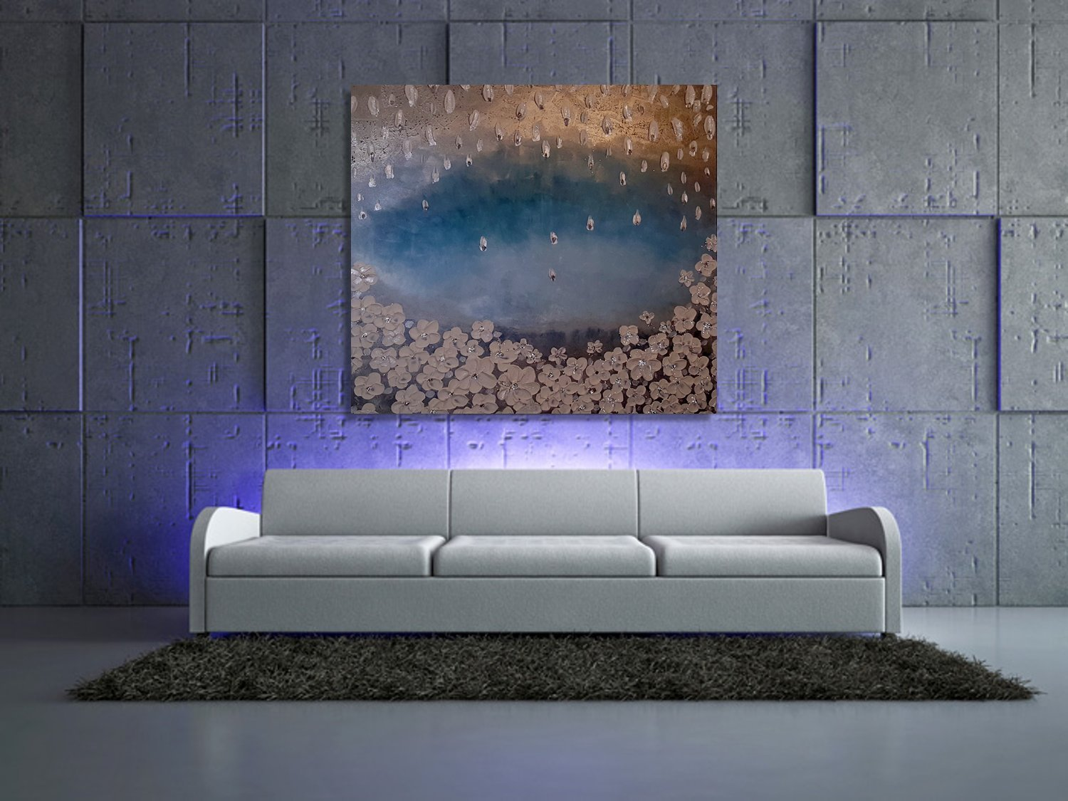 Amazon com turquoise wall art deco tree painting abstract oil painting metallic modern artwork extra large painting on canvas house decor handmade
