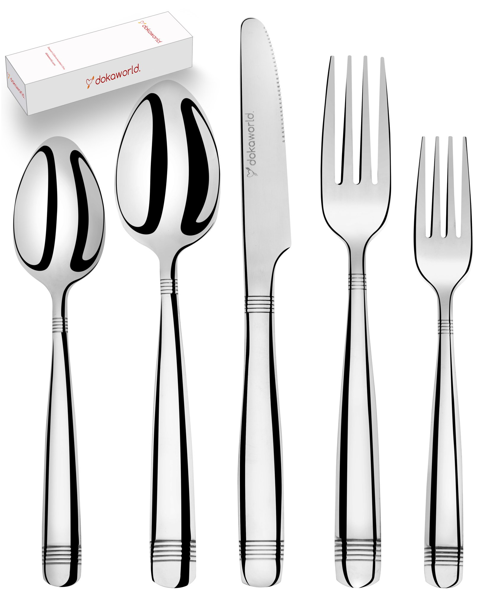 Silverware Set 18/10 Stainless Steel – Elegant Flatware Set of 20 Pieces – Eating Utensils for 4 People – Modern Cutlery Kit of Dinner Forks – Spoons Knives Dessert Forks and Spoons 71zjV2SthFL