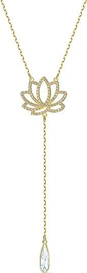 Swarovski Collier Symbolic Lotus, Blanc, Métal Doré