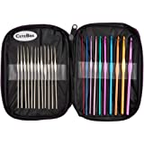 Cutebox 22pcs Mixed Aluminum Handle Crochet Hooks, Ergonomic Knitting Knit Needles, Weave Yarn Set, 0.6~6.5mm
