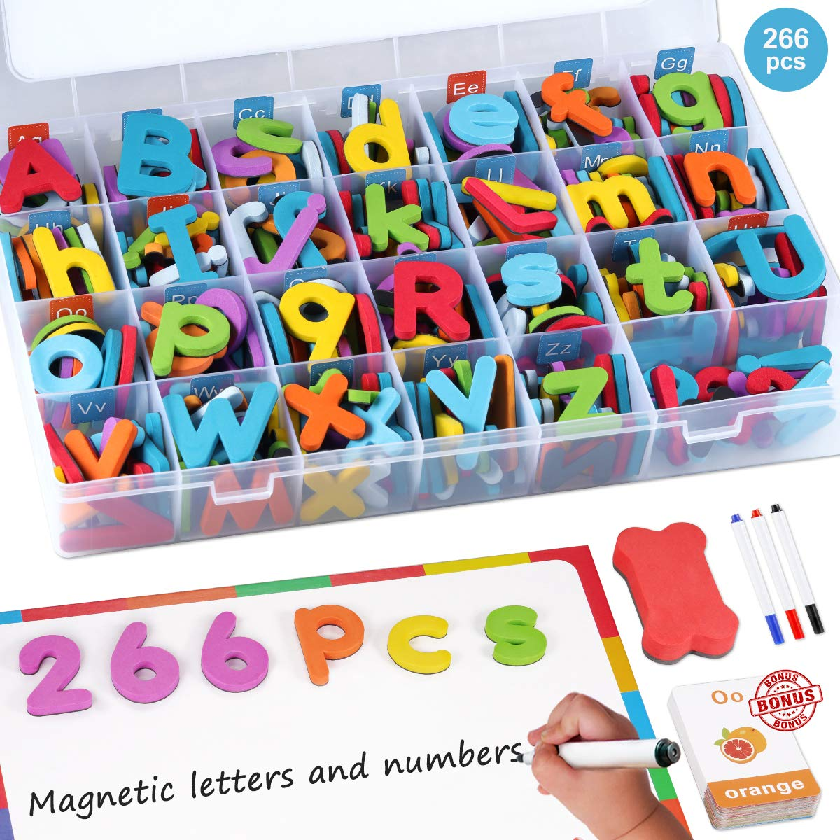 Magnetic Letters Kit, 266 Pcs A-Z Foam Magnetic Letters, Refrigerator Alphabet Magnets Letters with Double-Side Magnet Board, Educational Refrigerator Magnets for Preschool Learning Spelling