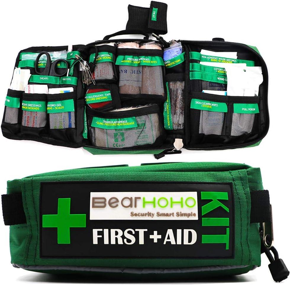 Práctico Kit de Primeros Auxilios Bolsa de 165 Piezas Kits de Supervivencia de Senderismo Rescate Aire Libre Coche médico de Escuela del Equipaje de Emergencia Ligeros