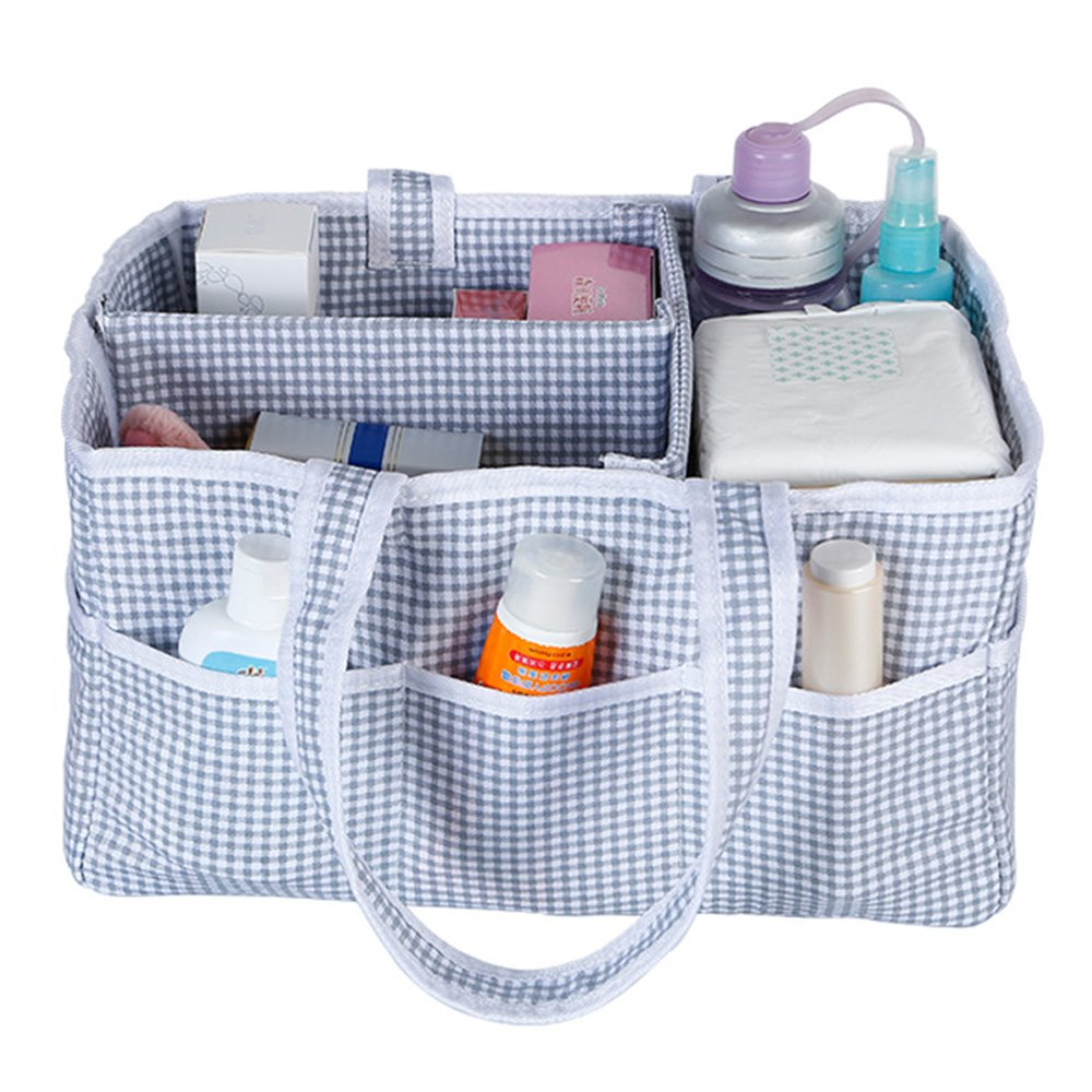 Foldable Baby Diapers Organizer, Nursery Storage Tote Bag for Diaper, Wipes Paper, Kid Toys Storage Basket