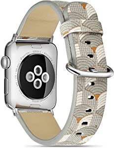 TCSHOW 40mm 38mm Soft PU Wave Style Replacement Strap Wrist Band with Silver Metal Adapter Compatible for Apple Watch Series SE/6/5/4/3/2/1(Not fit for iWatch 44mm/42mm)