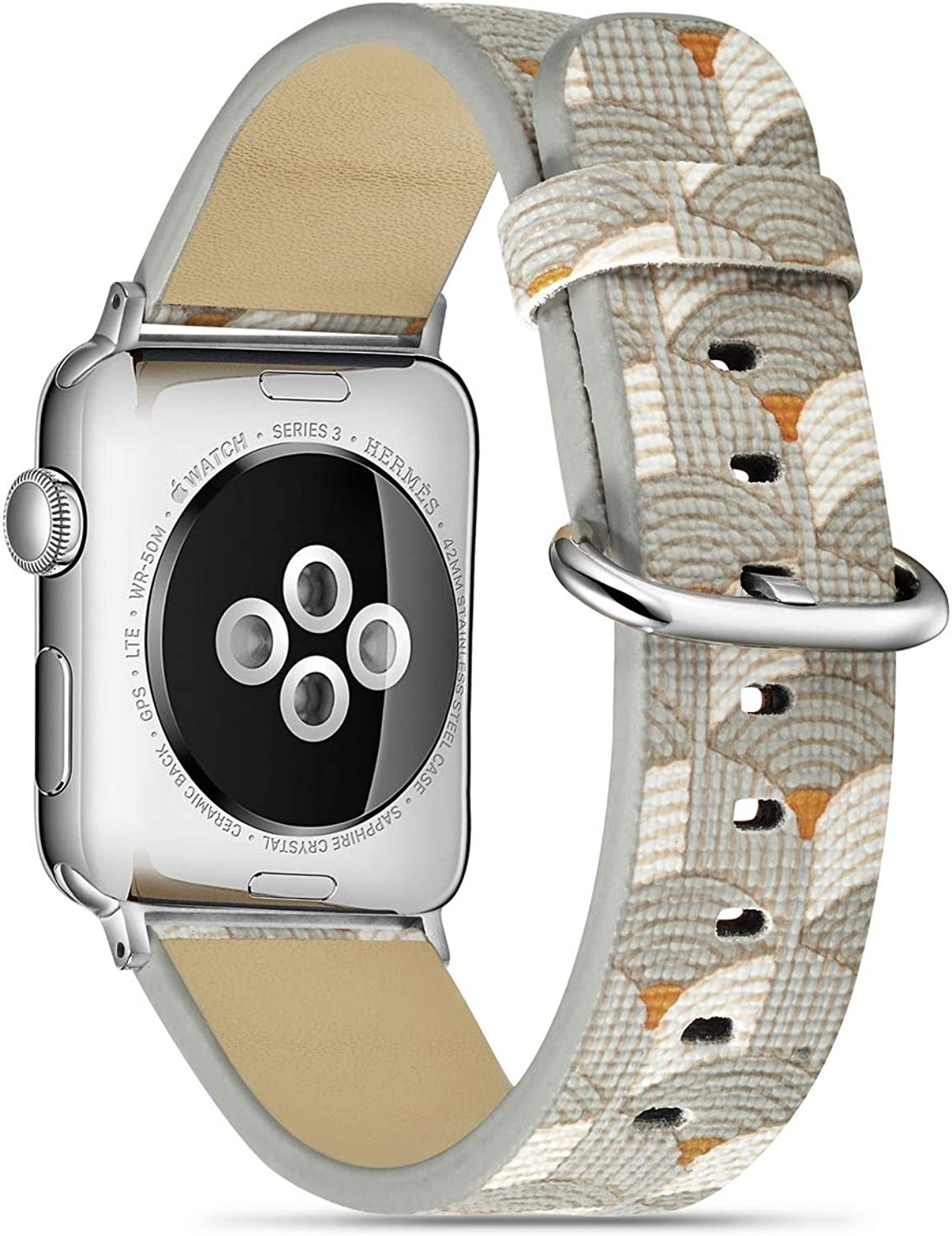 MeShow 44mm 42mm Wave Style Strap Wrist Band Watch Band with Silver Metal Adapter Compatible for Apple Watch Series SE 6 5 4 3 2 1(Not fit for 38mm/40mm Apple Watch)