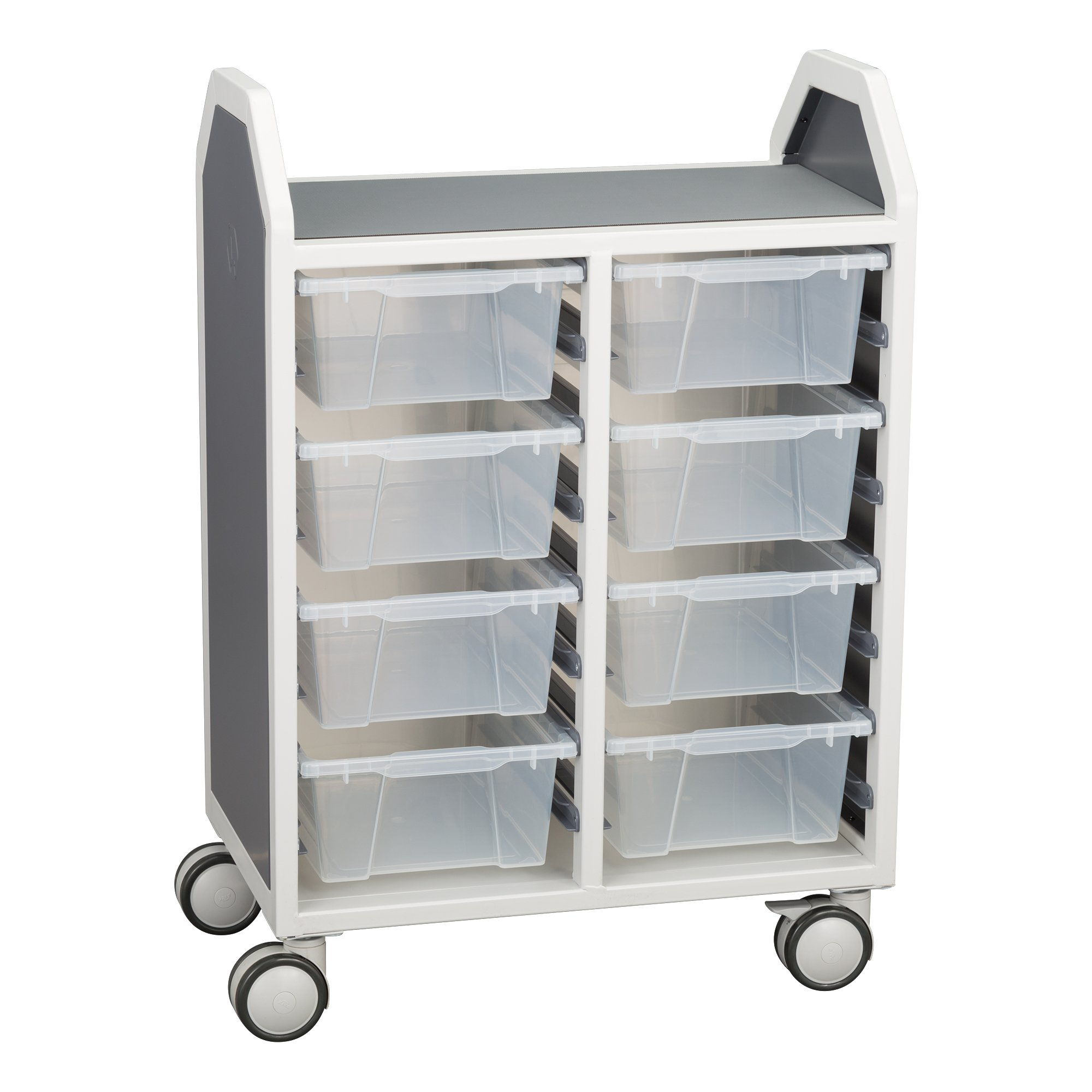 Learniture Profile Series Double-Wide Mobile Classroom Storage Cart with 8 Large Bins, LNT-GNO3041-PKAL-SO