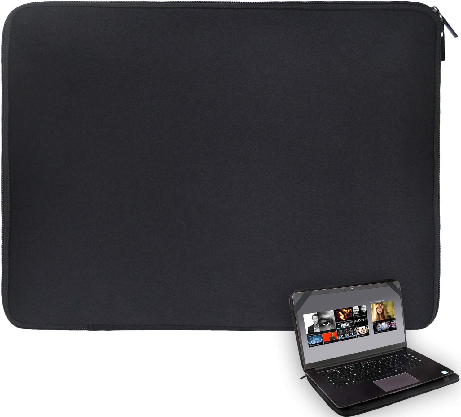 "15.6 Inch Laptop Case Sleeve Protector Notebook Pouch Cover 15.3inch x 11.4inch with 4 Elastic Bands for 15"" 15.6"" Samsung Sony ASUS Acer Lenovo Dell HP Toshiba Chromebook Computers (15-15.6 inch)"